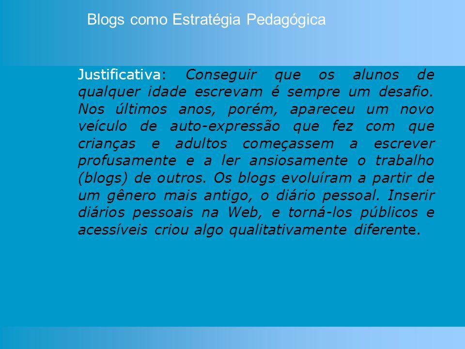 Os blogs são definidos como espaços de comunicação, de conversa.