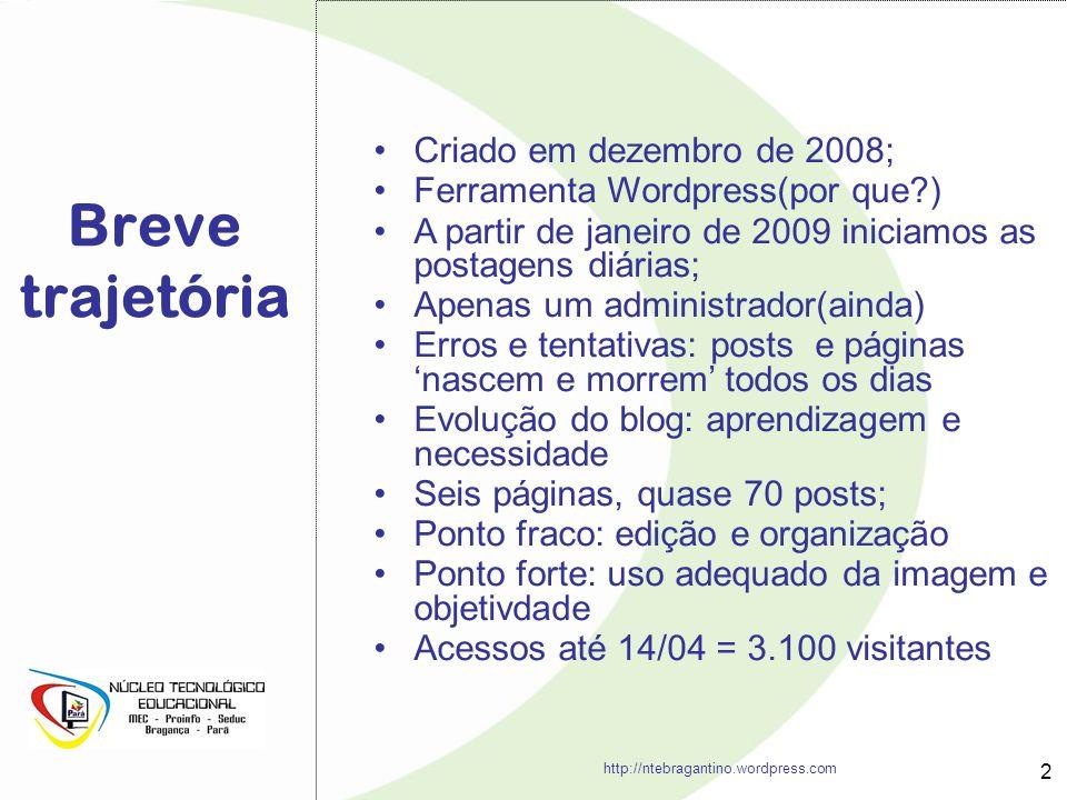 Breve trajetória 2 http://ntebragantino.wordpress.com Criado em dezembro de 2008; Ferramenta Wordpress(por que?) A partir de janeiro de 2009 iniciamos