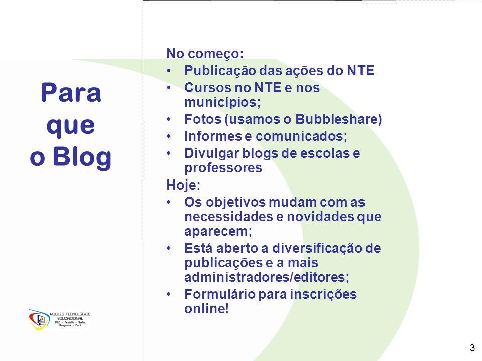Para que o Blog No começo: Publicação das ações do NTE Cursos no NTE e nos municípios; Fotos (usamos o Bubbleshare) Informes e comunicados; Divulgar b