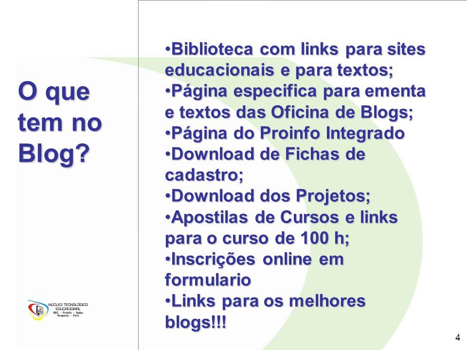 4 4 O que tem no Blog? Biblioteca com links para sites educacionais e para textos;Biblioteca com links para sites educacionais e para textos; Página e
