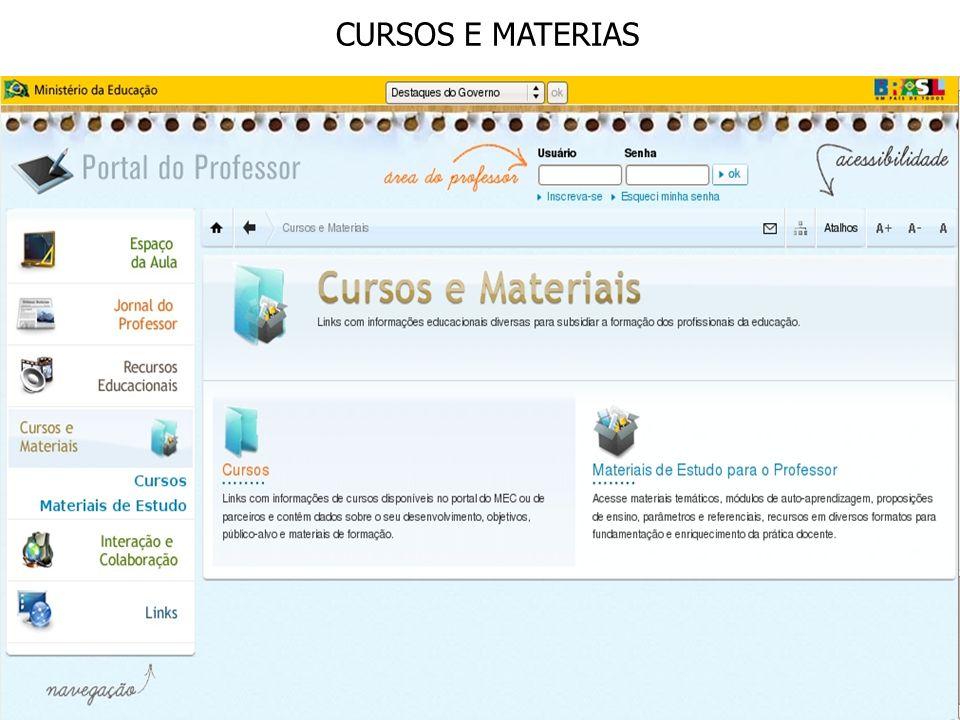 CURSOS E MATERIAS