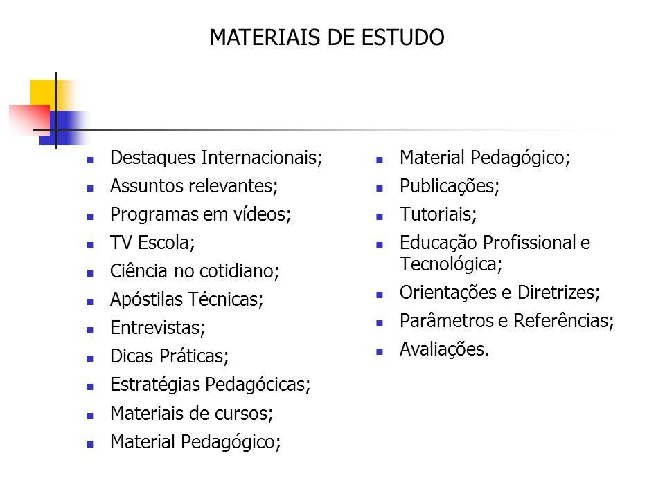 Destaques Internacionais; Assuntos relevantes; Programas em vídeos; TV Escola; Ciência no cotidiano; Apóstilas Técnicas; Entrevistas; Dicas Práticas; Estratégias Pedagócicas; Materiais de cursos; Material Pedagógico; Publicações; Tutoriais; Educação Profissional e Tecnológica; Orientações e Diretrizes; Parâmetros e Referências; Avaliações.