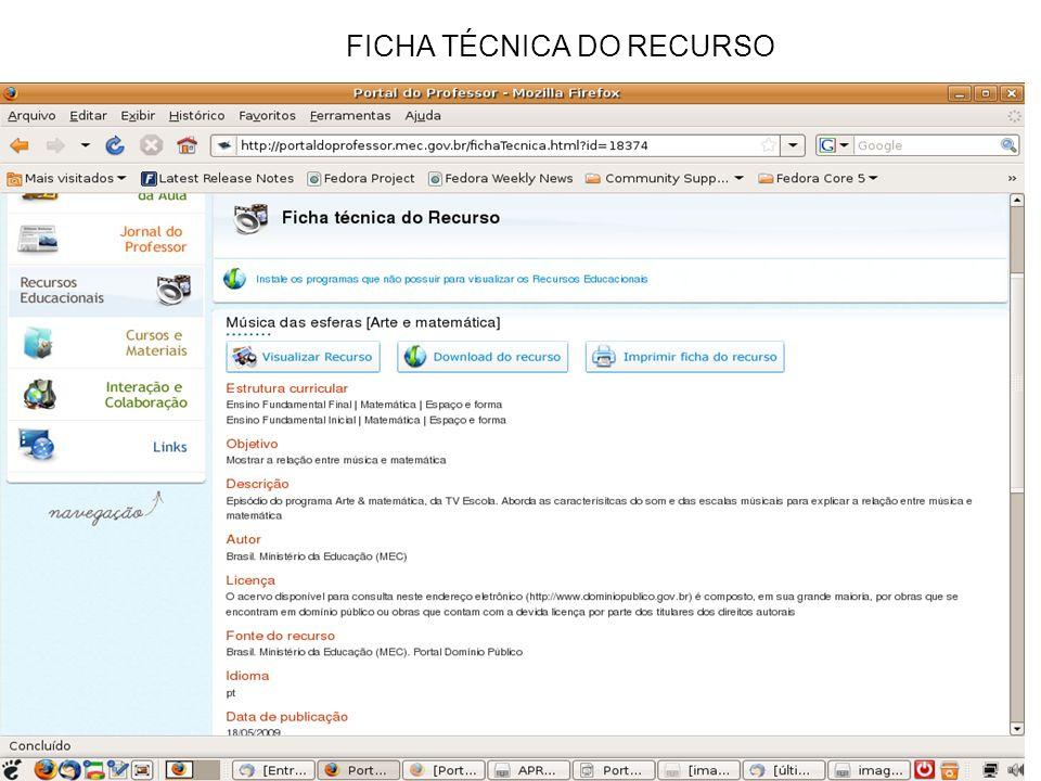 FICHA TÉCNICA DO RECURSO