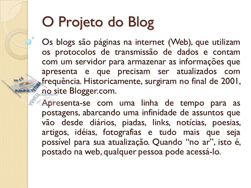 O Projeto do Blog Os blogs são páginas na internet (Web), que utilizam os protocolos de transmissão de dados e contam com um servidor para armazenar as informações que apresenta e que precisam ser atualizados com frequência.