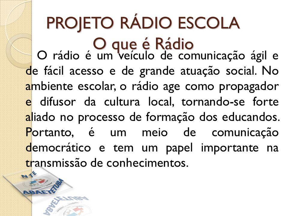 PROJETO RÁDIO ESCOLA O que é Rádio O rádio é um veículo de comunicação ágil e de fácil acesso e de grande atuação social.
