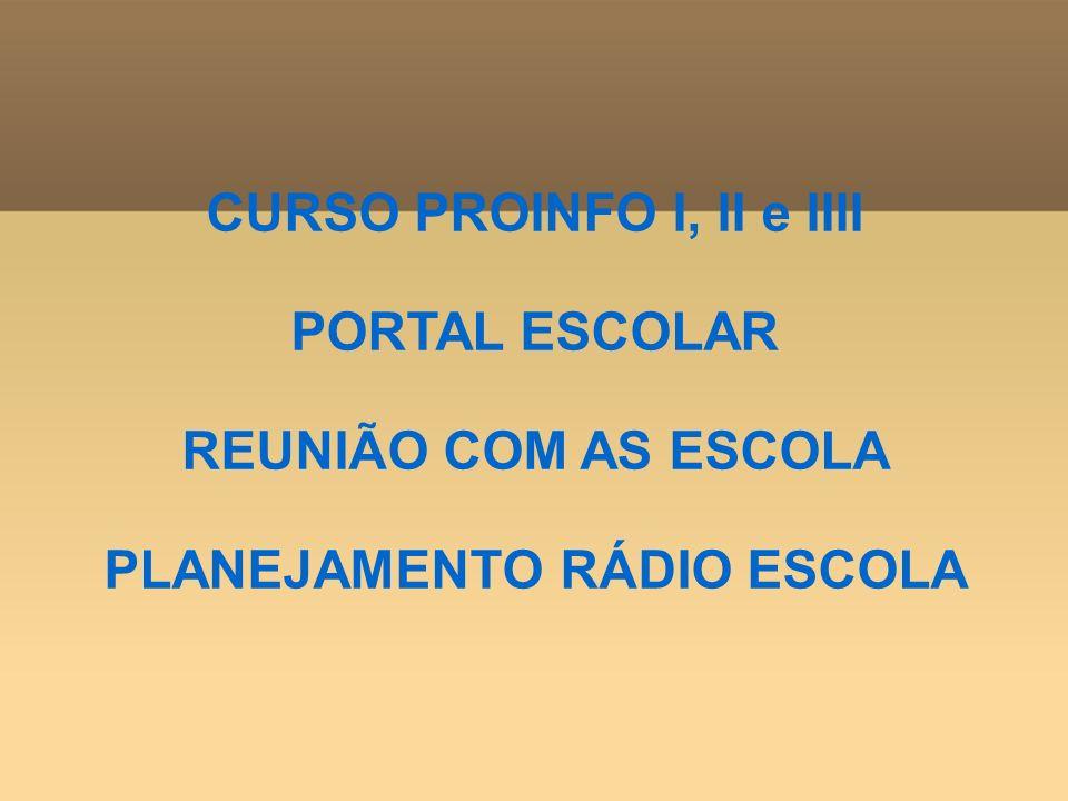 CURSO PROINFO I, II e IIII PORTAL ESCOLAR REUNIÃO COM AS ESCOLA PLANEJAMENTO RÁDIO ESCOLA