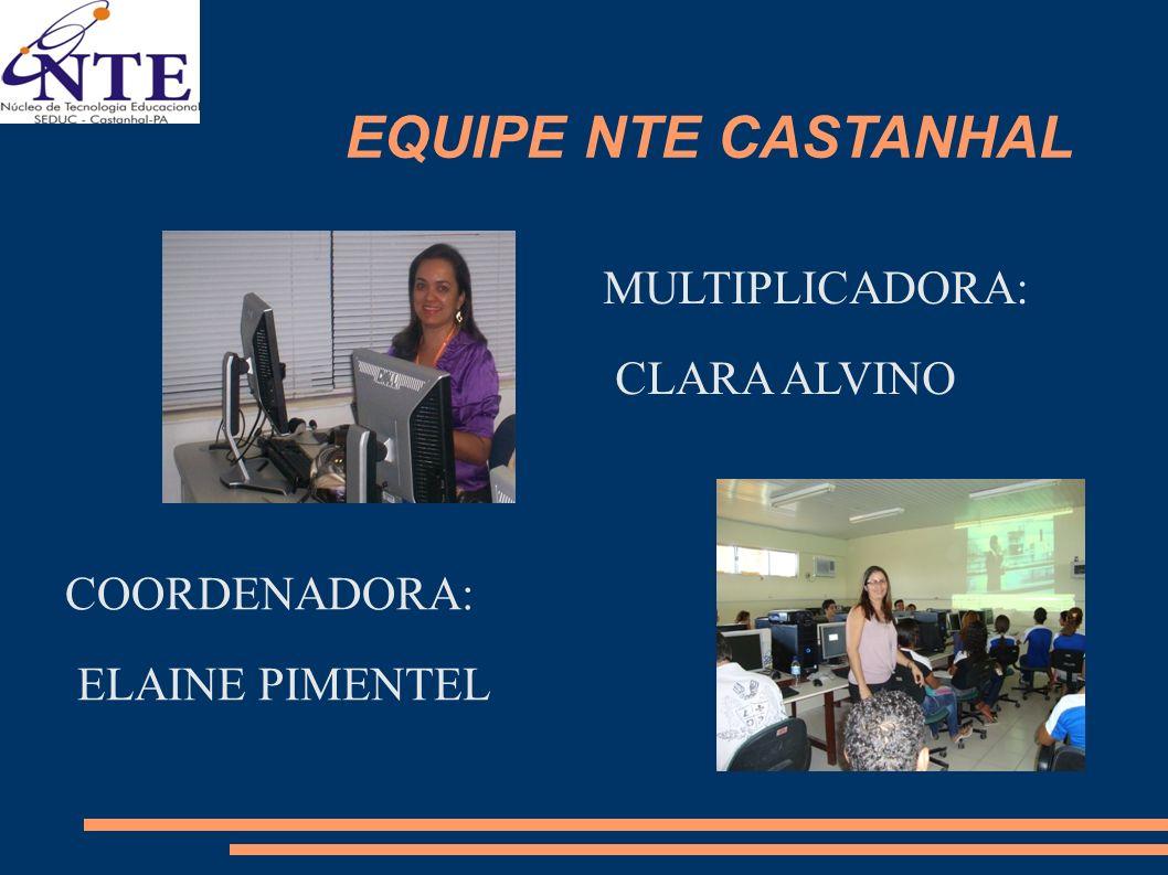 EQUIPE NTE CASTANHAL COORDENADORA: ELAINE PIMENTEL MULTIPLICADORA: CLARA ALVINO