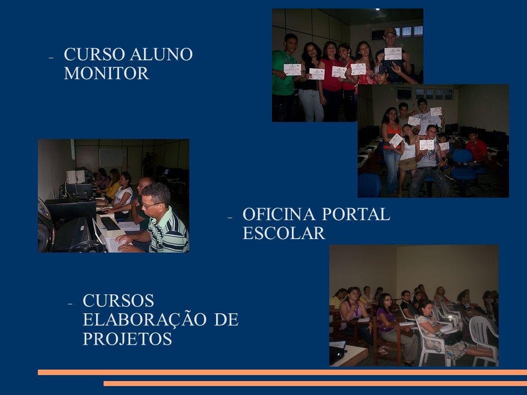 CURSOS ELABORAÇÃO DE PROJETOS OFICINA PORTAL ESCOLAR CURSO ALUNO MONITOR