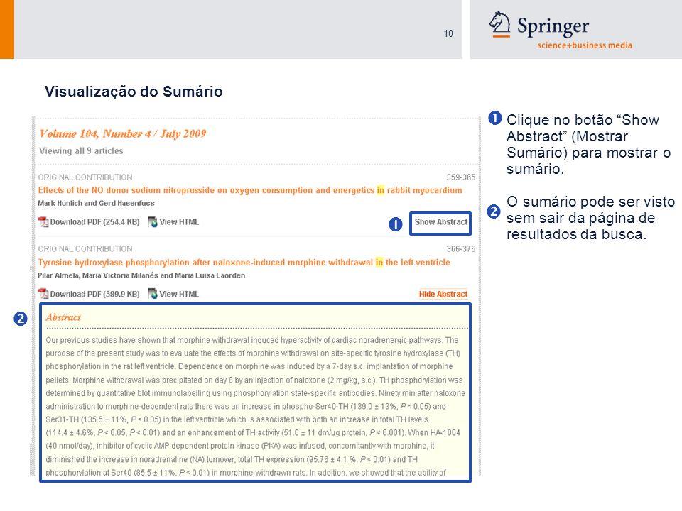 10 Clique no botão Show Abstract (Mostrar Sumário) para mostrar o sumário. O sumário pode ser visto sem sair da página de resultados da busca. Visuali