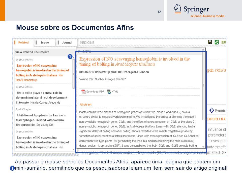 12 Mouse sobre os Documentos Afins Ao passar o mouse sobre os Documentos Afins, aparece uma página que contém um mini-sumário, permitindo que os pesqu