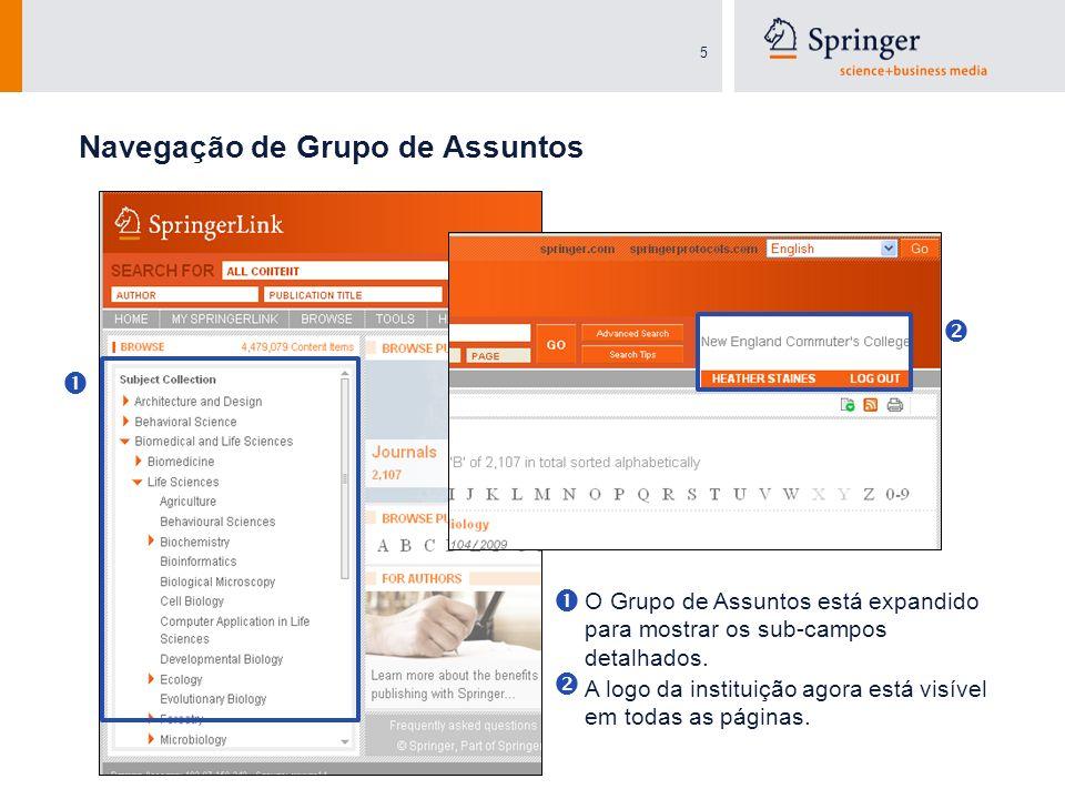5 O Grupo de Assuntos está expandido para mostrar os sub-campos detalhados. Navegação de Grupo de Assuntos A logo da instituição agora está visível em