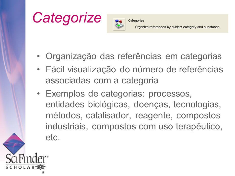 Categorize Organização das referências em categorias Fácil visualização do número de referências associadas com a categoria Exemplos de categorias: processos, entidades biológicas, doenças, tecnologias, métodos, catalisador, reagente, compostos industriais, compostos com uso terapêutico, etc.