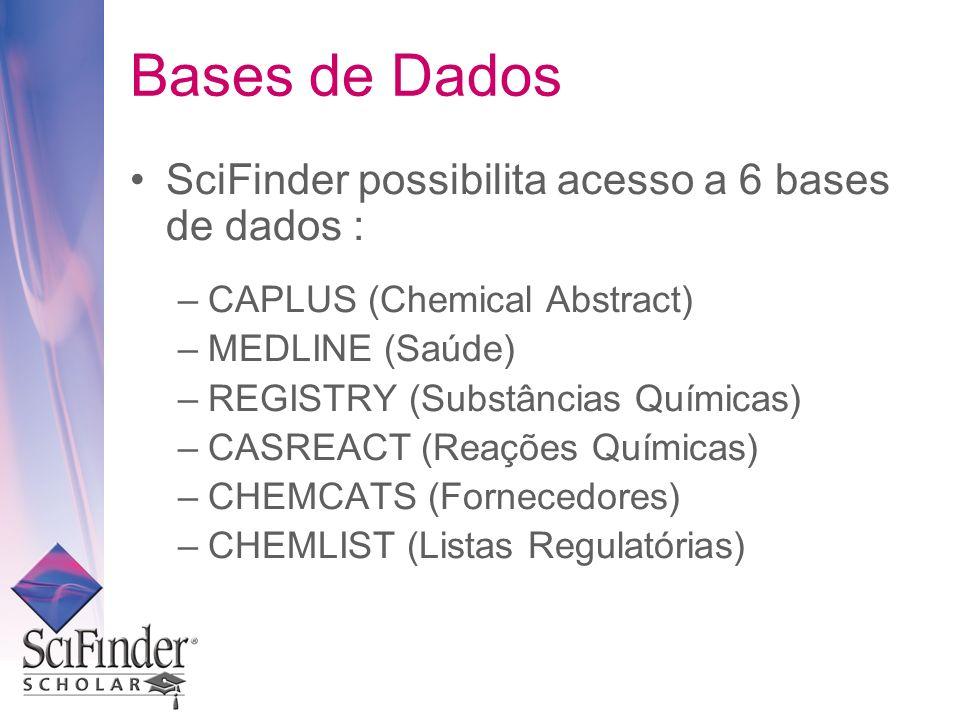 SciFinder possibilita acesso a 6 bases de dados : –CAPLUS (Chemical Abstract) –MEDLINE (Saúde) –REGISTRY (Substâncias Químicas) –CASREACT (Reações Químicas) –CHEMCATS (Fornecedores) –CHEMLIST (Listas Regulatórias) Bases de Dados