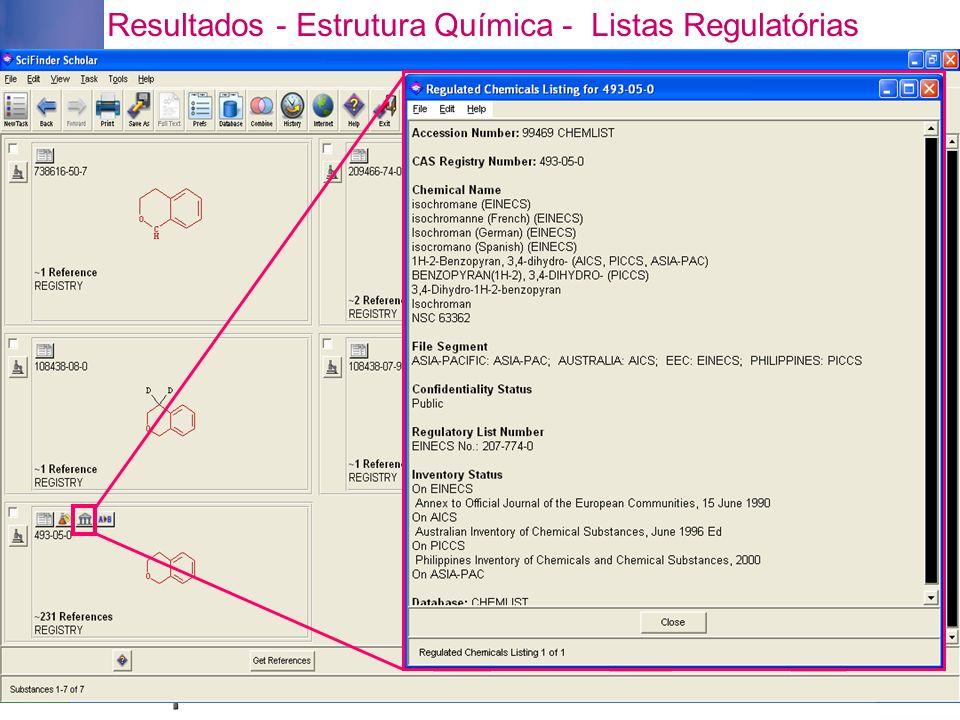 Resultados - Estrutura Química - Listas Regulatórias