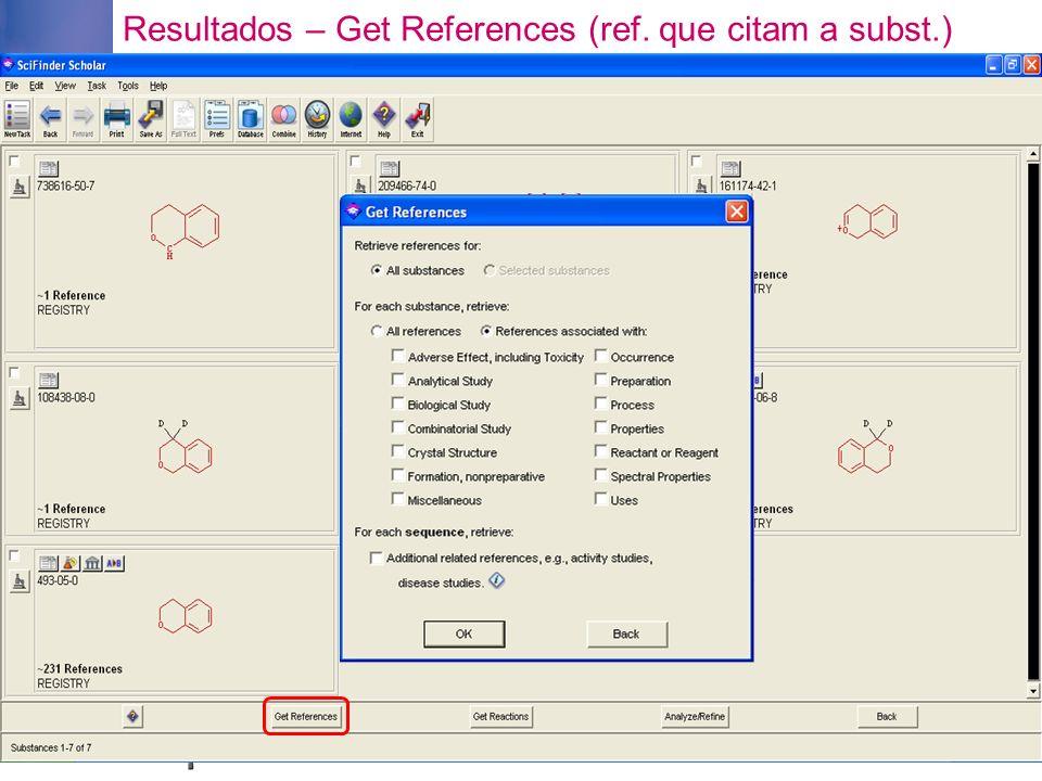 Resultados – Get References (ref. que citam a subst.)