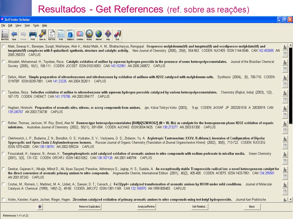 Resultados - Get References (ref. sobre as reações)