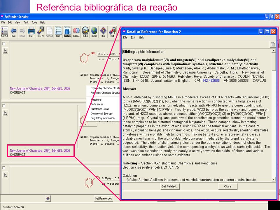 Referência bibliográfica da reação