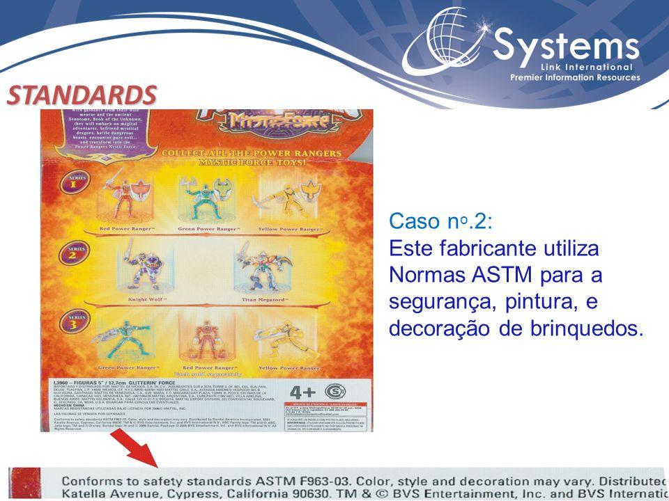 Caso n o.2: Este fabricante utiliza Normas ASTM para a segurança, pintura, e decoração de brinquedos. STANDARDS