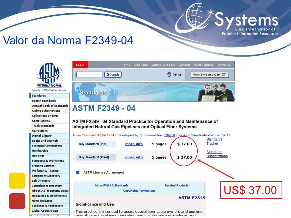 Valor da Norma F2349-04 US$ 37.00