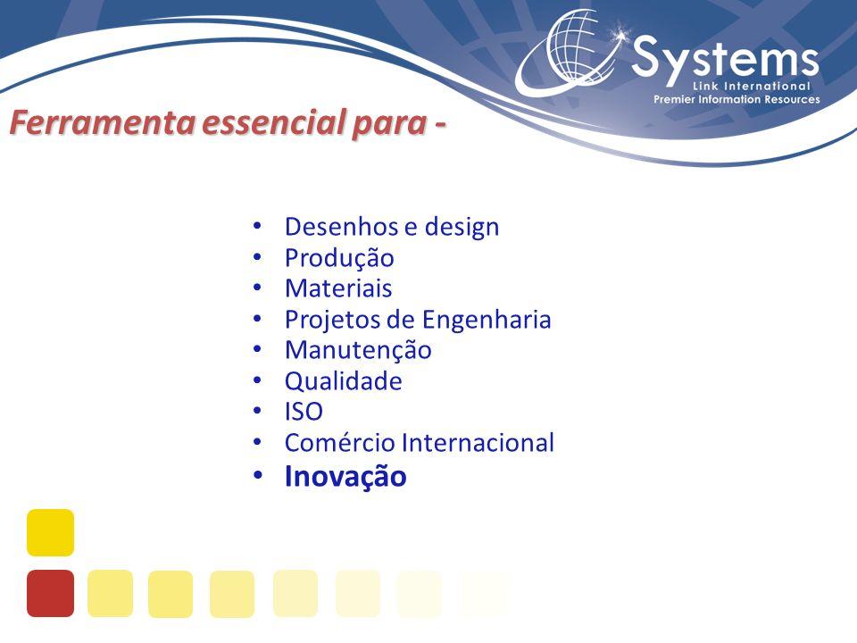 Ferramenta essencial para - Desenhos e design Produção Materiais Projetos de Engenharia Manutenção Qualidade ISO Comércio Internacional Inovação
