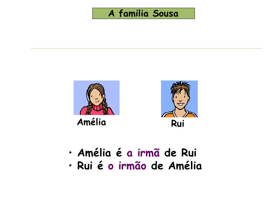 Amélia Rui + Margarida Zé Margarida é a mulher de Zé Zé es o marido de Margarida Margarida é a mãe de Amélia Zé é o pai de Rui Amélia é a filha de Zé Rui es o filho de Margarida A família Sousa