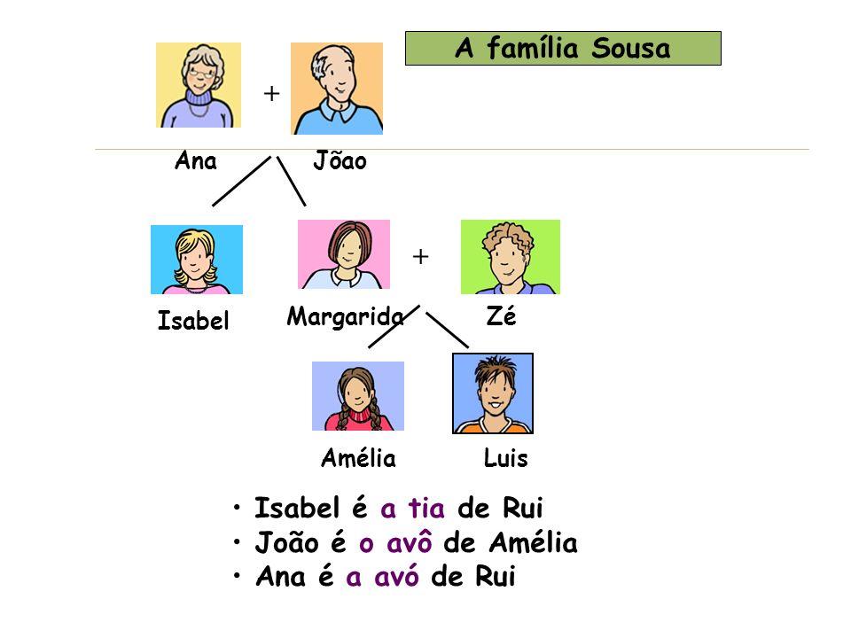 + + Zé AméliaLuis Margarida Isabel AnaJõao Isabel é a tia de Rui João é o avô de Amélia Ana é a avó de Rui A família Sousa
