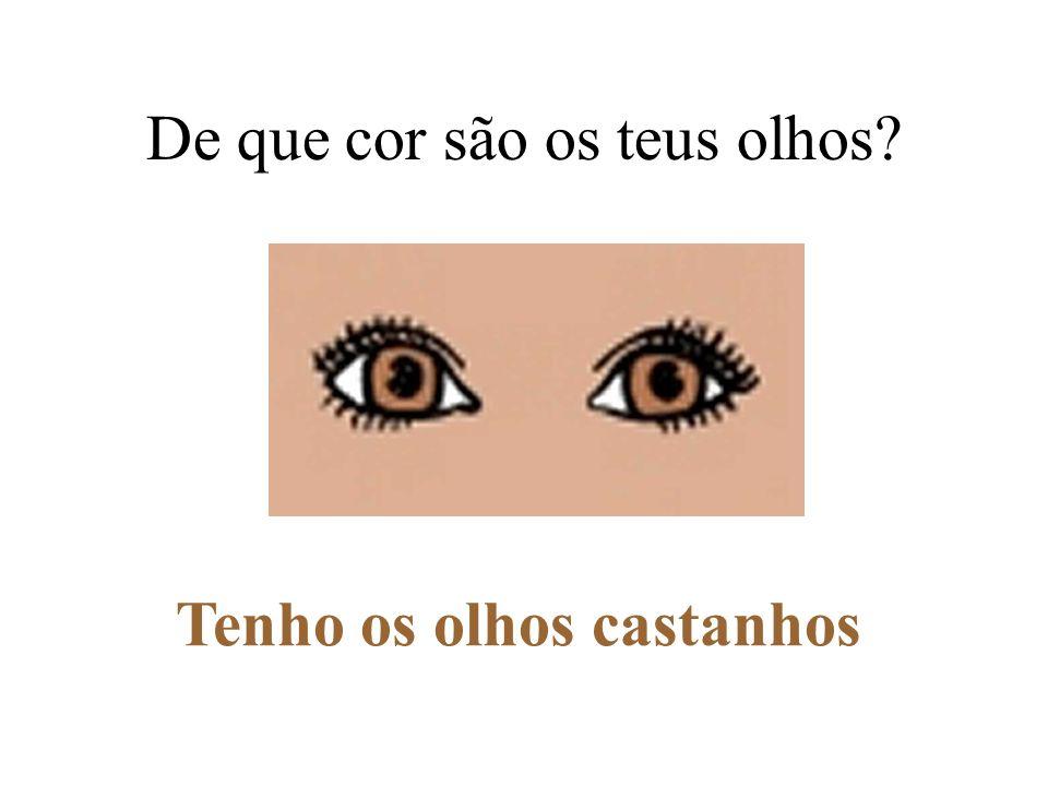 De que cor são os teus olhos? Tenho os olhos cinzentos