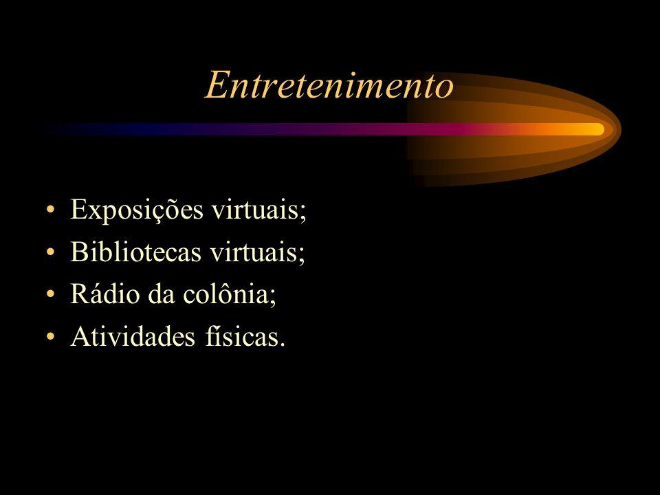 Entretenimento Exposições virtuais; Bibliotecas virtuais; Rádio da colônia; Atividades físicas.