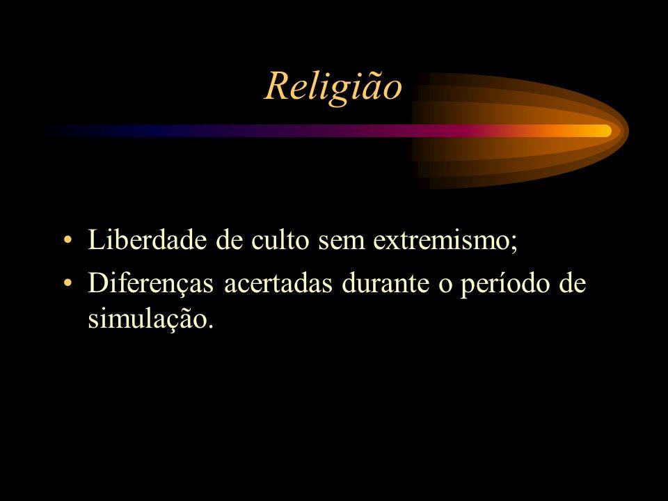 Religião Liberdade de culto sem extremismo; Diferenças acertadas durante o período de simulação.