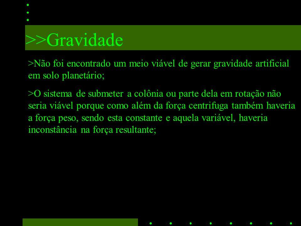 >>Gravidade >Não foi encontrado um meio viável de gerar gravidade artificial em solo planetário; >O sistema de submeter a colônia ou parte dela em rotação não seria viável porque como além da força centrifuga também haveria a força peso, sendo esta constante e aquela variável, haveria inconstância na força resultante;