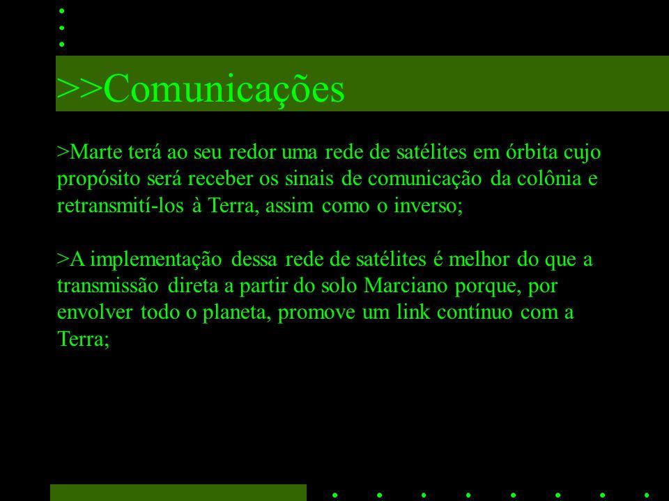 >>Comunicações >Marte terá ao seu redor uma rede de satélites em órbita cujo propósito será receber os sinais de comunicação da colônia e retransmití-los à Terra, assim como o inverso; >A implementação dessa rede de satélites é melhor do que a transmissão direta a partir do solo Marciano porque, por envolver todo o planeta, promove um link contínuo com a Terra;