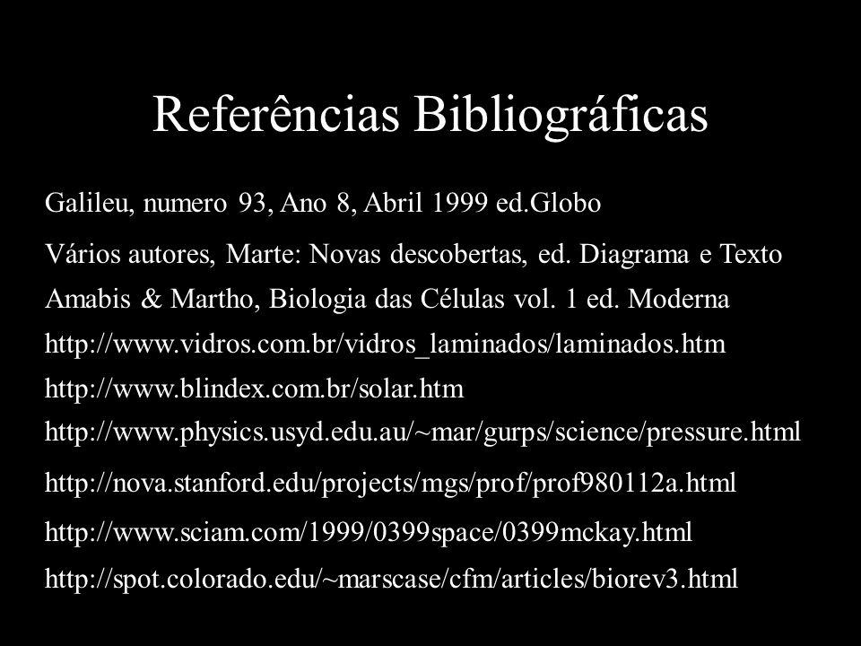 Referências Bibliográficas Galileu, numero 93, Ano 8, Abril 1999 ed.Globo Vários autores, Marte: Novas descobertas, ed.
