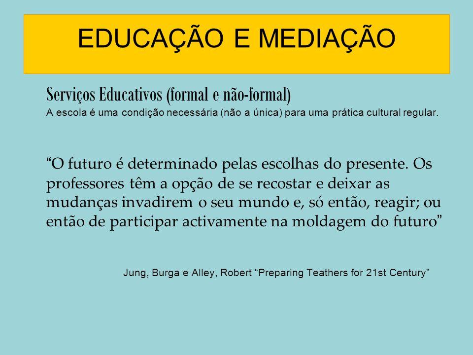 EDUCAÇÃO E MEDIAÇÃO Serviços Educativos (formal e não-formal) A escola é uma condição necessária (não a única) para uma prática cultural regular. O fu