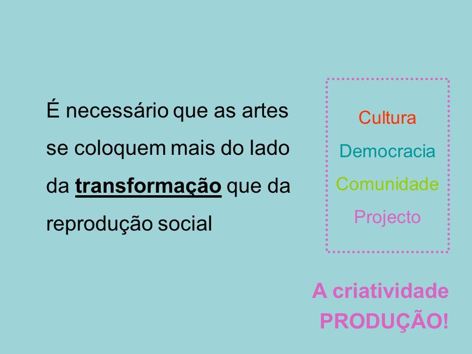 Cultura Democracia Comunidade Projecto É necessário que as artes se coloquem mais do lado da transformação que da reprodução social A criatividade PRO