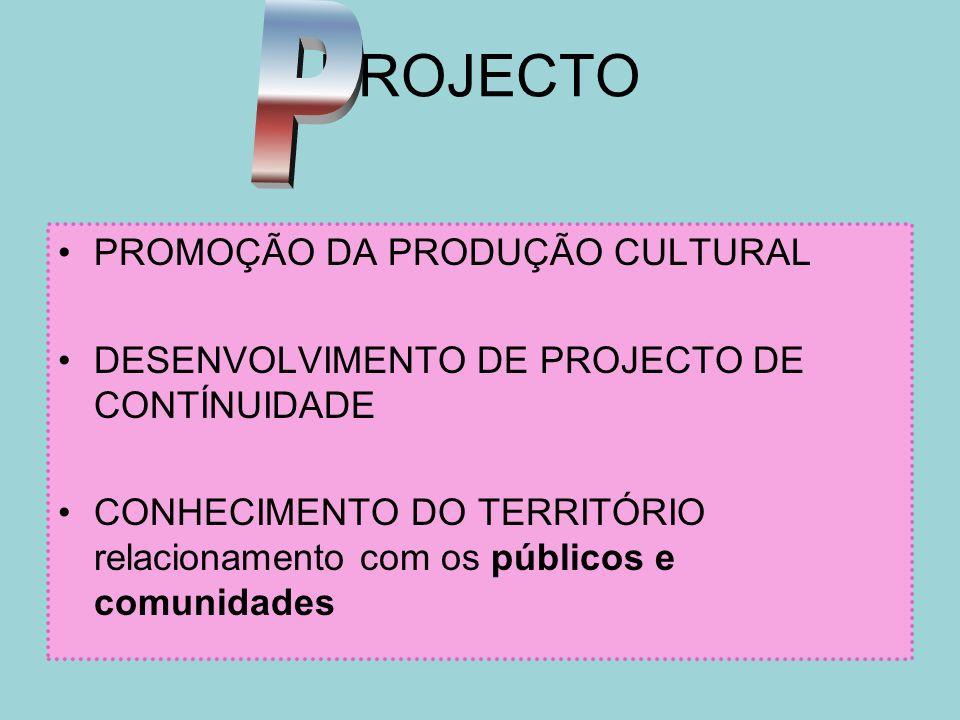 PROJECTO PROMOÇÃO DA PRODUÇÃO CULTURAL DESENVOLVIMENTO DE PROJECTO DE CONTÍNUIDADE CONHECIMENTO DO TERRITÓRIO relacionamento com os públicos e comunid