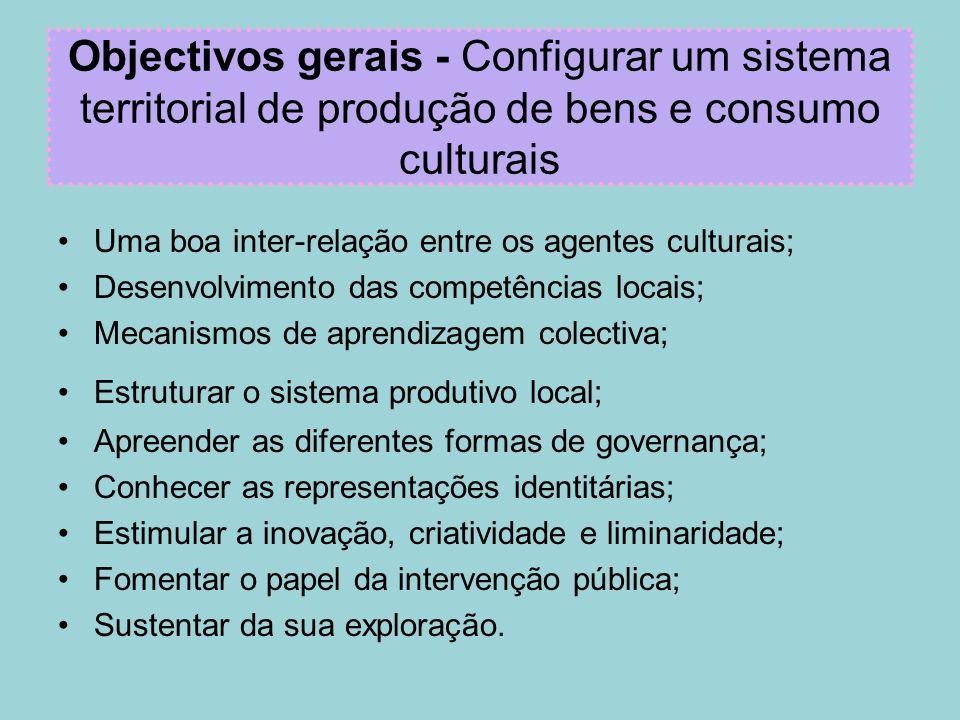 Objectivos gerais - Configurar um sistema territorial de produção de bens e consumo culturais Uma boa inter-relação entre os agentes culturais; Desenv