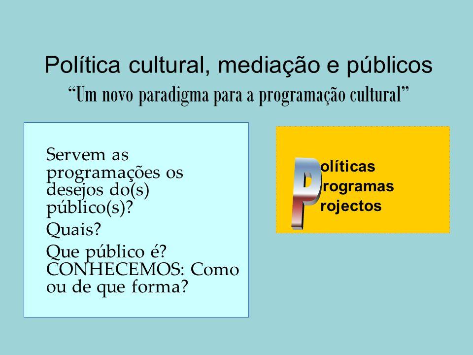 Política cultural, mediação e públicos Um novo paradigma para a programação cultural Servem as programações os desejos do(s) público(s)? Quais? Que pú