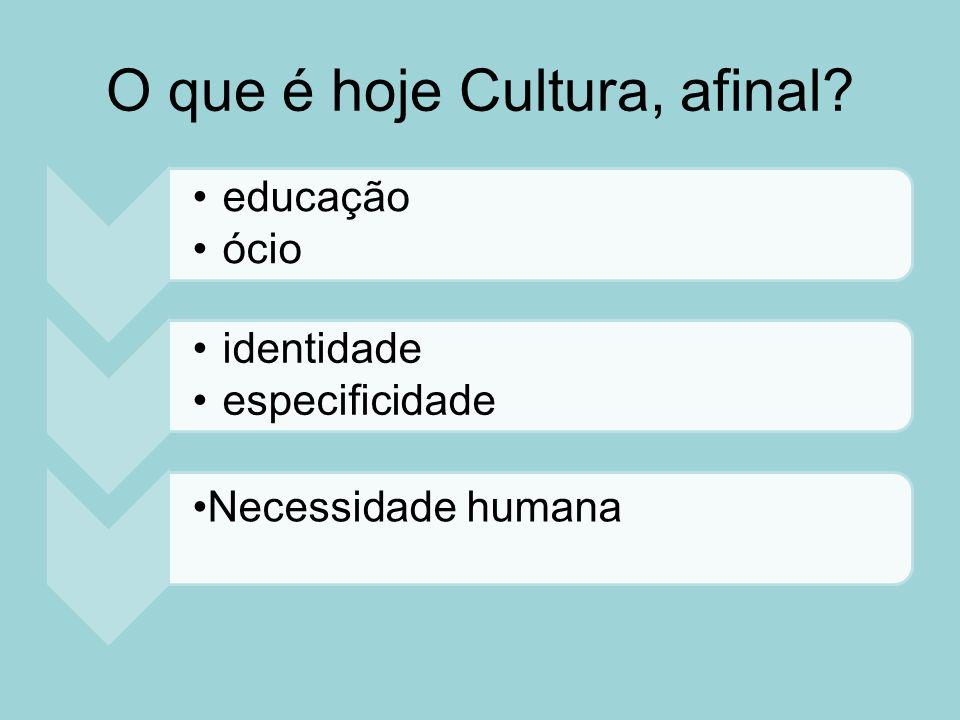 O que é hoje Cultura, afinal? educação ócio identidade especificidade Necessidade humana