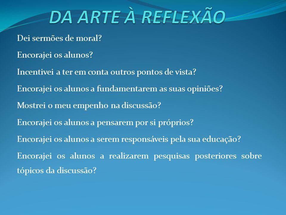 Critérios para a avaliação do aluno Fazer perguntas.