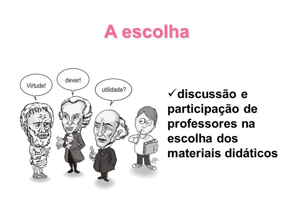 discussão e participação de professores na escolha dos materiais didáticos A escolha A escolha
