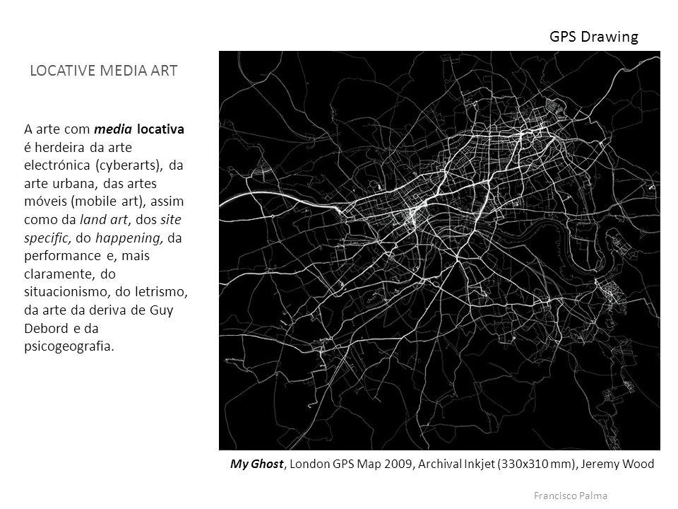 Francisco Palma My Ghost, London GPS Map 2009, Archival Inkjet (330x310 mm), Jeremy Wood GPS Drawing LOCATIVE MEDIA ART A arte com media locativa é he
