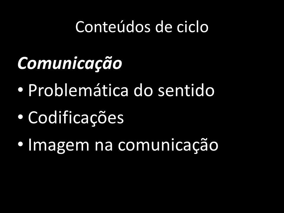 Conteúdos de ciclo Comunicação Problemática do sentido Codificações Imagem na comunicação