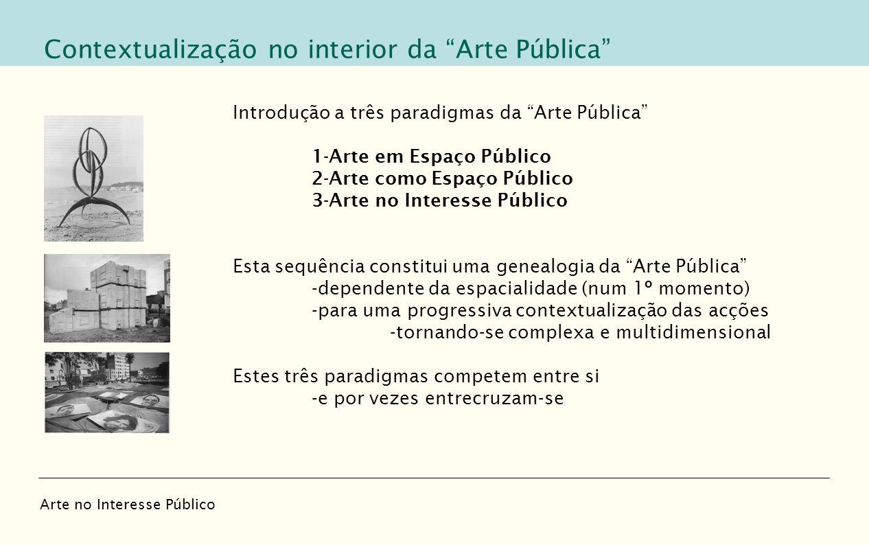Introdução a três paradigmas da Arte Pública 1-Arte em Espaço Público 2-Arte como Espaço Público 3-Arte no Interesse Público Esta sequência constitui