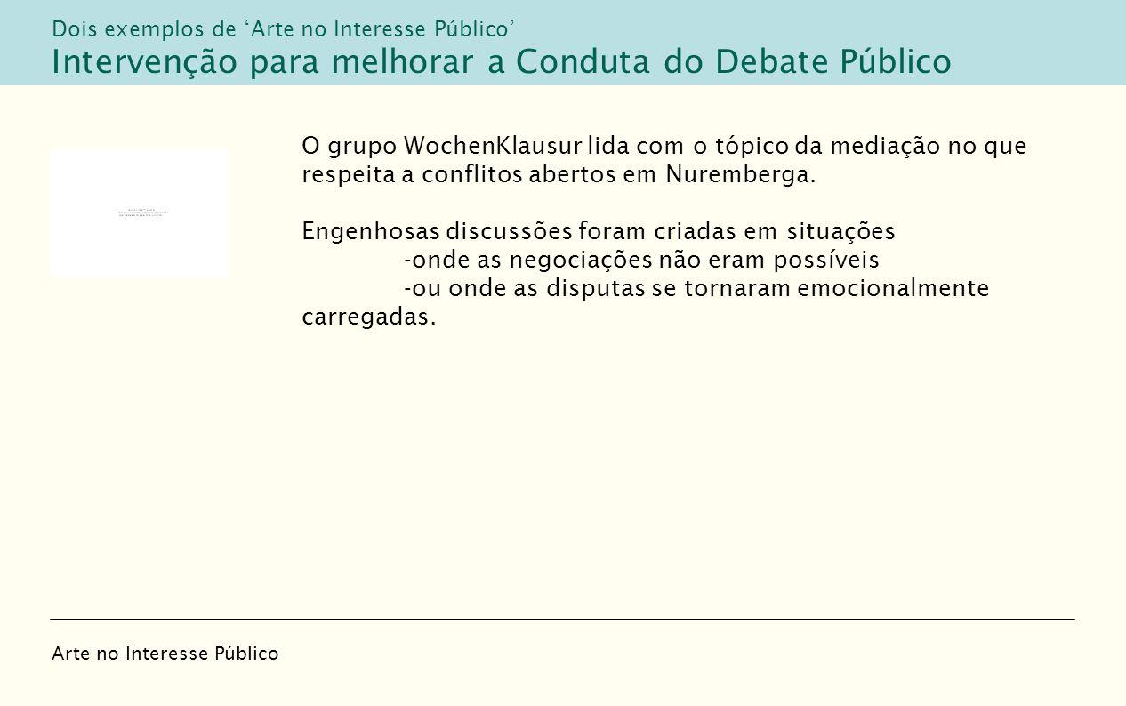 O grupo WochenKlausur lida com o tópico da mediação no que respeita a conflitos abertos em Nuremberga. Engenhosas discussões foram criadas em situaçõe