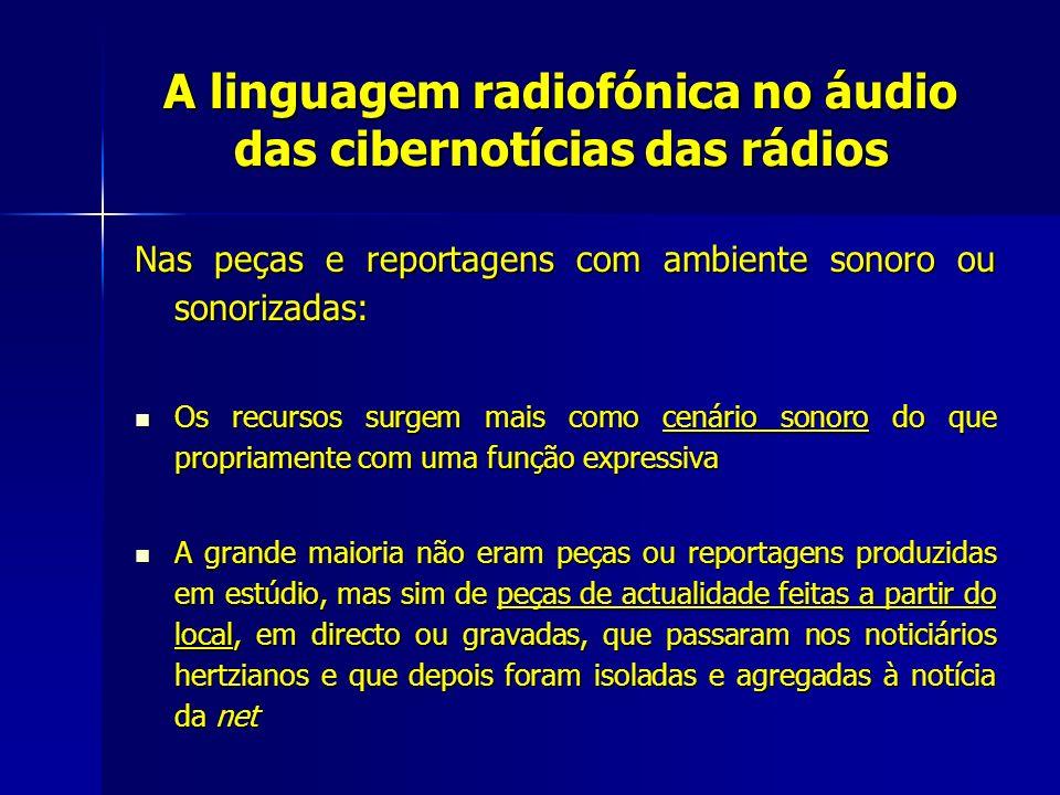 A linguagem radiofónica no áudio das cibernotícias das rádios Nas peças e reportagens com ambiente sonoro ou sonorizadas: Os recursos surgem mais como