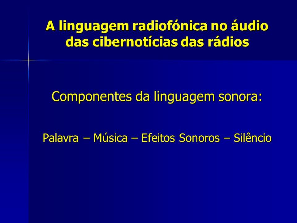 A linguagem radiofónica no áudio das cibernotícias das rádios Componentes da linguagem sonora: Palavra – Música – Efeitos Sonoros – Silêncio