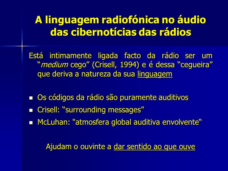A linguagem radiofónica no áudio das cibernotícias das rádios Está intimamente ligada facto da rádio ser ummedium cego (Crisell, 1994) e é dessa cegue