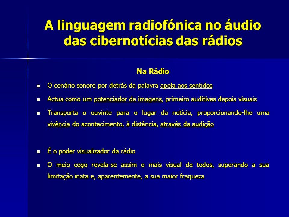 A linguagem radiofónica no áudio das cibernotícias das rádios Na Rádio O cenário sonoro por detrás da palavra apela aos sentidos O cenário sonoro por