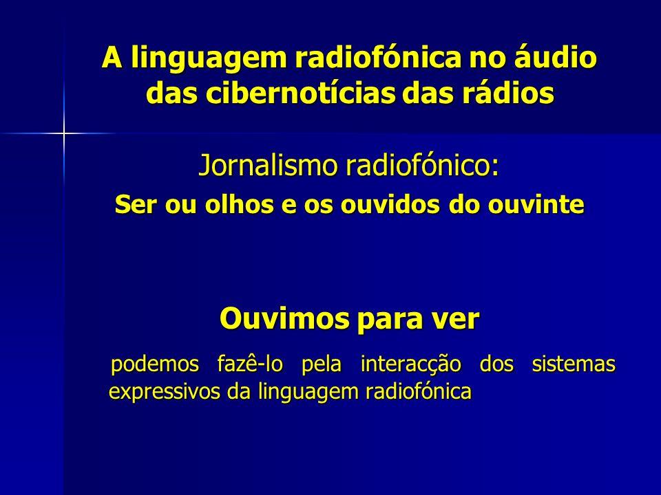 A linguagem radiofónica no áudio das cibernotícias das rádios Jornalismo radiofónico: Ser ou olhos e os ouvidos do ouvinte Ouvimos para ver podemos fa