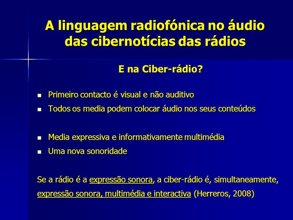 A linguagem radiofónica no áudio das cibernotícias das rádios E na Ciber-rádio? Primeiro contacto é visual e não auditivo Primeiro contacto é visual e